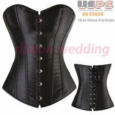 Womens Satin BLACK Boned Lace Up Overbust Corset Top Bustier Lingerie Shapewear