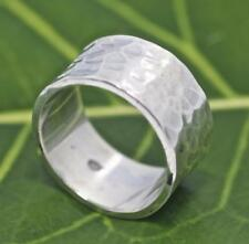 Handmade Solid Sterling Silver .925 Bali Unisex Hammered Band Ring. Size 8,9.