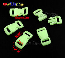 """Glow in the Dark 3/8"""" Curved Release Buckle Paracord Bracelet Dog Collar Parts"""