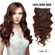 """24"""" 100% Remy Clip In Human Hair Extensions Body Wave Thick 7Pcs/Set 100g  #4"""