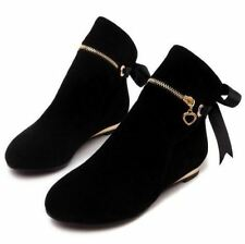 Solid Black Color Round Toe Lace Up Casual Ankle Length Boot For Women
