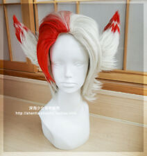 Rakan Wig Ears League of Legends New 135th Champion LOL Cosplay Red Silver Hair