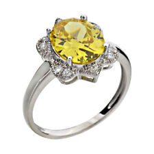 Oval Yellow Cubic Zirconia 925 Sterling Silver Women's Engagement Wedding Ring