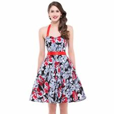 Women V-neck Sleeveless Floral Print Pleated Wide Swing Casual Dress