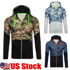 USA Mens Long Sleeve Camouflage Patchwork Hoodies Sweatshirt Jacket Coat Outwear