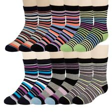 12 Pairs of excell Boys Dress Socks, Striped Colorful Fancy Cotton Socks