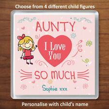 Auntie I Love You Personalised Gift From 1 Child Coaster For Aunty Birthday Xmas