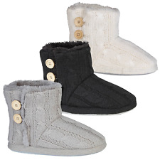 New Ladies AAron Cable Knit Soft Fur Lined Warm Slipper Boots Booties Sizes 3-9