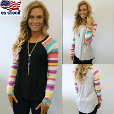 USA Women's Retro Long Sleeve Tops Crew Neck Patchwork Casual Blouse T-Shirt Tee