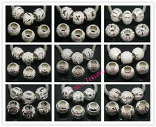 Fashion Silver Plated Carved Stardust Aluminium Big Hole Bead for Charm Bracelet