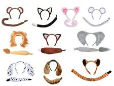 ANIMAL EARS & TAIL SET FANCY DRESS HEADBAND MONKEY DOG PIG MOUSE FOX LION TIGER