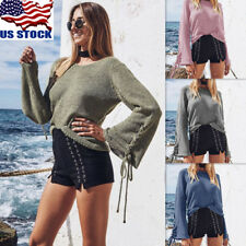 US Women Long Sleeve Knitted Sweater Tops Blouse Crew Neck Pullover Knitwear Top