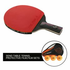 Carbon Fiber Table Tennis Racket Ping Pong Paddle Bat Long Short Handle + Bag XP