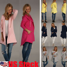 Winter Womens Hoodie Long Jacket Casual Irregular Cardigan Coat Outwear Overcoat