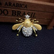 Gold Rhinestone Insect Pin Women New Fashion Enamel Bumble Bee Brooch