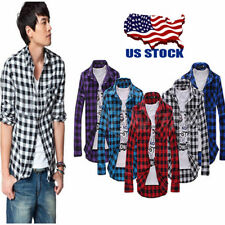 US Mens Classic Button Plaid T Shirts Casual Autumn Long Sleeve Tops Blouse XS-L