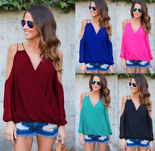 Womens Chiffon Cross V Neck Cold Shoulder Long Sleeve Tops Loose T Shirts Blouse