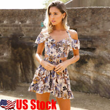USA Womens Off Shoulder Rompers Bodycon Casual Strappy Cocktail Party Mini Dress