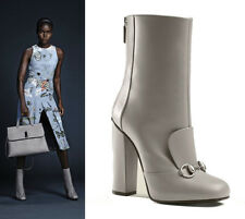 sz 36.5 39 40 NEW $1100 GUCCI RUNWAY Gray Leather HORSEBIT Ankle Lillian BOOTS