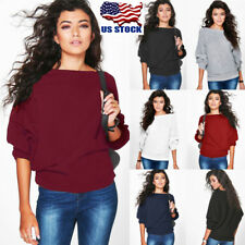 US Women Long Sleeve Knitted Sweater Tops Batwing Cardigan Outwear Pullover Coat
