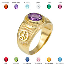 14K Yellow Gold Peace Sign Birthstone CZ Ring