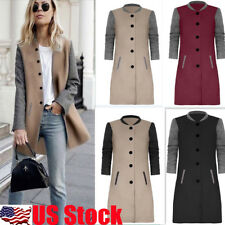US Womens Winter Warm Long Slim Coat Trench Parka Jacket Overcoat Button Outwear