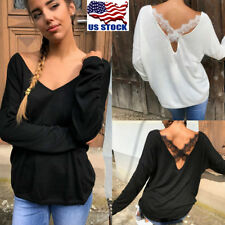 US Women V Neck Long Batwing Sleeve Hoodies Ladies Back Lace Cross Pullover Tops