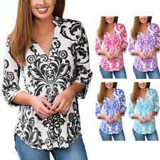 Womens Floral Printed Top Blouse 3/4 Long Sleeve V neck Casual Office T Shirt US