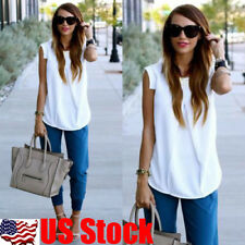 Womens Summer Vest Tops Sleeveless Shirt Blouse Casual Chiffon Tank Tops T-Shirt