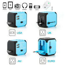 Universal 2 USB AC Wall Power Outlet Converter Travel Adapter For Worldwide Use