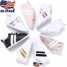 US Boys Girl Kids Newborn Baby Crib Shoes Infant Toddler Soft Sole Lace Up Shoes