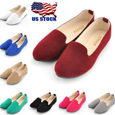 US Womens Slip On Suede Ballet Flats Ladies Soft Ballerina Ballet Shoes Size 5-8