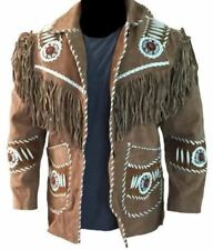 Mens Leather Western wear Brown Suede Leather Jacket Fringed & Beads Coat
