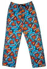 Mens Official Superman S Logo Lounge Pants Long Pyjama Bottoms Blue S M L XL