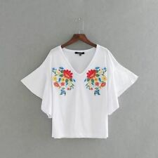 Women Floral Embroidery Polyester Material Long Sleeve V Neck Casual Blouse