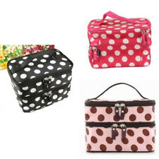 Double Layer Cosmetic Travel Toiletry Mirror Purse Make-up Bag Organizer Case