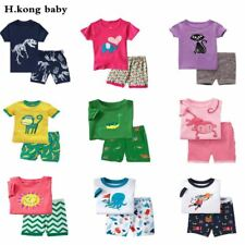 kids Pajamas Short Sleeve cotton sleepwear Set summer Boys Cartoon girls
