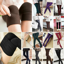 Womens Basic Solid Winter Fleece Thermal Stretchy Full Length Footless Leggings