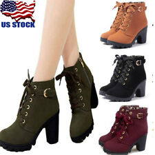 Womens High Heel Lace Up Buckle Ankle Boots Casual Zip Platform Shoes Size 4-8.5