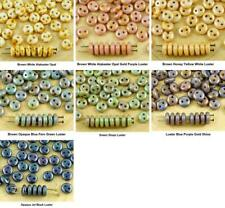 40pcs Picasso Lentil Round Flat 2 Two Hole Spacer Czech Glass Beads 6mm