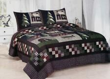 Mountain Trip 3 Pc Quilt Set King Queen Cotton Fill Cabin Bear Red Navy Brown