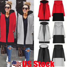 US Womens Warm Coat Jacket Tops Outwear Winter Zip Up Hooded Long Parka Overcoat