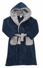 Navy Boys Thick Fleece Dressing Gown Kids Xmas Gift Hooded Bath Robe 7-13 Years
