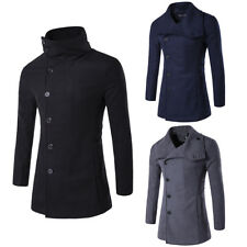 Mens Winter Warm Long Slim Coat Trench Parka Jacket Overcoat Button Outwear Tops