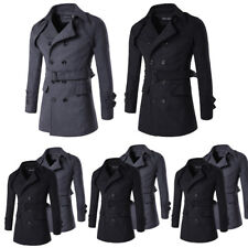 Men Long Double-Breasted Trench Coat Jacket Lapel Slim Windbreaker Belt Overcoat