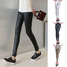 New Ladies High Waist PU Leather Leggings Wet Look Shiny Stretchy Long Pants