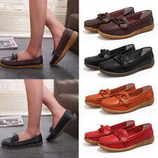 Womens Ladies Bowknot Slip On Shoes Loafers Moccasin Casual Pumps Shoes Size 5-8