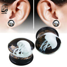 Ear Piercing Jewelry Pyrex Glass White Jellyfish Ear Rings Gauges Expander Plugs