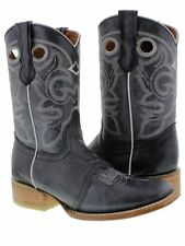 Women's Denim Blue Mid Calf Leather Pull On Cowboy Boots Riding Rodeo Square
