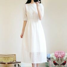 Women New Style Solid Color Round Neck Long Five Point Sleeve Dress